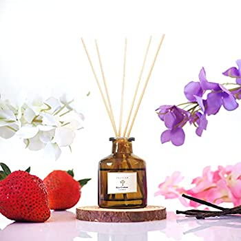 Inspired by Ritz-Carlton Hotel Reed Diffuser for Home & Bathroom | Fresh Strawberry Vanilla Musk Fragrance Diffuser | Aromatherapy Scented Oil Reed Diffuser Set | Unique Blend to Provide Relaxation