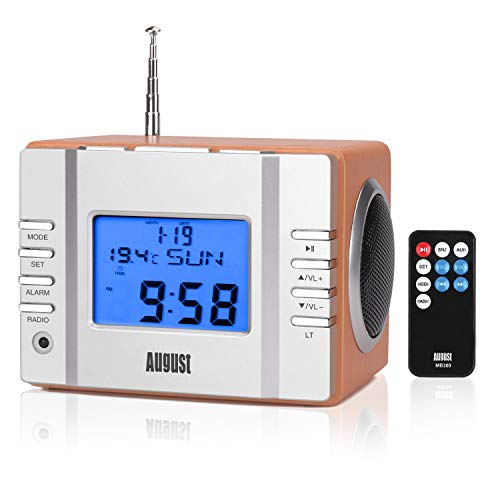 August MB300 Mini Wooden MP3 Stereo System and FM Clock Radio, with Card Reader, USB Port & AUX Jack (3.5mm Audio in), 2 x 3W Powerful Hi-Fi Speakers and Built-in Rechargeable Battery (Black)