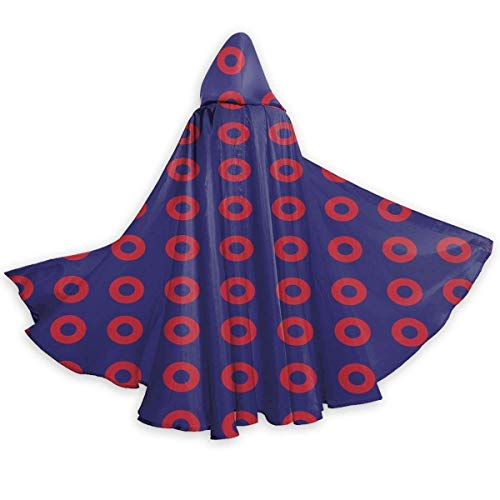 Amanda Walter Phish Red Donut Circles On Blue Black Christmas Hooded Cloak Brillante de Cuerpo Entero Disfraz de Halloween Party Cape para Hombres Mujeres