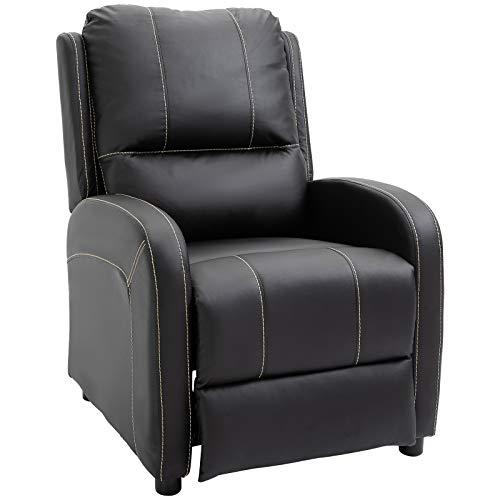 HOMCOM Relaxsessel Fernsehsessel Wohnzimmer 165° Liegewinkel 160 kg belastbar PU Schwarz 70 x 93 x 100 cm