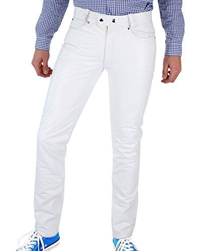 Bockle mannen lederen broek broek strak leer jeans 1991 Buis wit lederslang