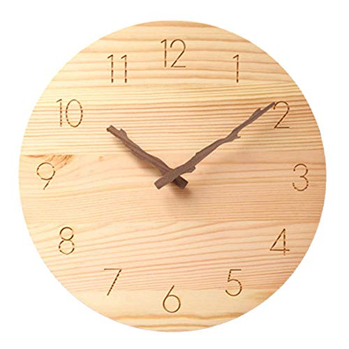 Saytay 掛け時計 壁掛け 時計 掛け時計おしゃれ 木製枝型指針 天然木 連続秒針 静音 円形 アラビア数字 電池式 部屋装飾 プレゼント 直径約25CM