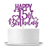 INNORU Purple Glitter Happy 15th Birthday Cake Topper for Cheers to 15 Years - Teenager Children's Birthday Party Cake Decorations