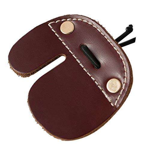 Gaetooely Cowhide Archery Finger Tab For Recurve Bows Hunting Finger Protector Brown