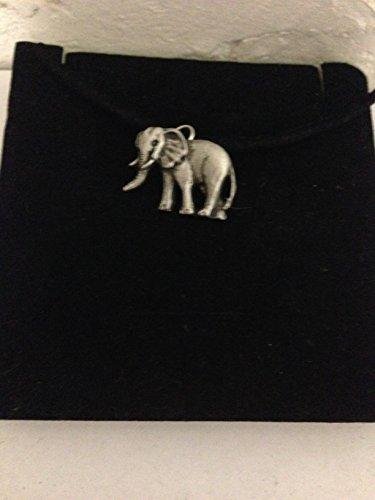 Elefante R96 - Emblema de peltre inglés en un collar de cordón negro, hecho a mano, 41 cm