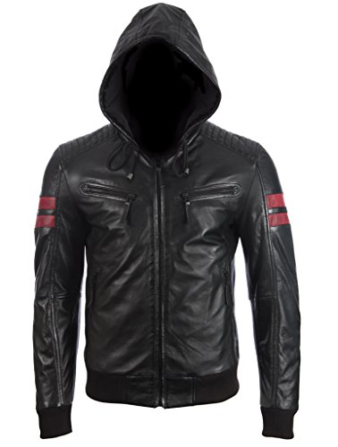 Aviatrix Herren-echtes Leder-Mode-Jacke mit Kapuze und Streifen (2VQ9)
