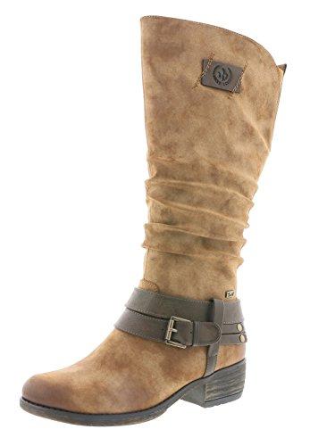 Rieker Rieker Damen Klassische Stiefel 93158,Frauen Boots,Langschaftstiefel,Blockabsatz 4cm,reh/nubia, EU 38