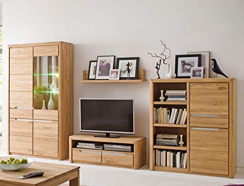 Wohnwand Pisa 22 Eiche Bianco massiv 4-teilig Medienwand TV-Wand Wohnzimmer TV-Möbel