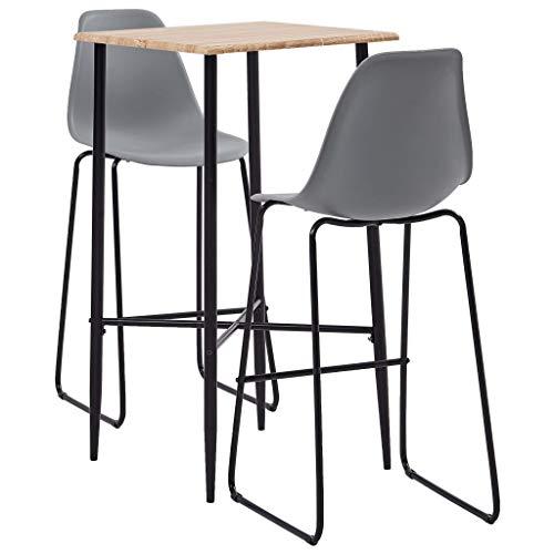 UnfadeMemory Conjunto de Mesa y Taburetes de Cocina,Muebles de Bar,Mesa Alta y Taburetes,Diseño Moderno,Asiento de Plástico (Mesa Roble y Taburetes Gris, 3 Pzas,Mesa 60x60x111cm)