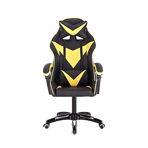 N/Z Tägliche Ausrüstung Stuhl Gaming Chair Elevating Rotary Ergonomisches Design Liegender elektronischer Sportstuhl mit Kopfstütze und Massage Lendenkissen Haushaltscomputerstuhl Rot Weiß