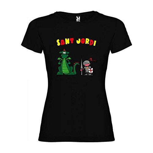 Camiseta Catalunya Sant Jordi Manga Corta Mujer Negro L
