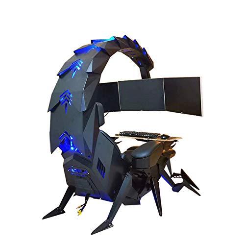 YUYTIN Super Deluxe Racing Gaming Chair Executive Office Cockpit Gaming Station Video Gaming Stuhl, Computertisch und Stuhl, Hochrücken-Schwenkstuhl, mit Kopfstütze, Lendenunterstützung,