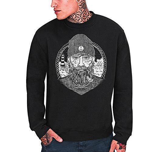 VIENTO Real Captain Sweatshirt para Hombre (Negro, M)