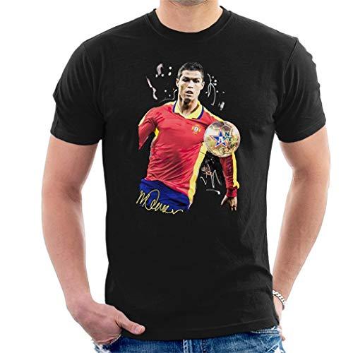 VINTRO Camiseta El Delantero portugués Cristiano Ronaldo Hombres Original Portrait por Sidney Maurer