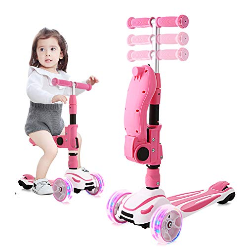 OUTCAMER Kids Scooter with Folding Seat, 2-in-1 Adjustable Height & Folding Kick Scooters - 3 Lighting Wheels Scooters for Girls Boys Great Outdoor Toy for Toddlers 2 to 8 Years Old