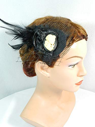 Haarclip Haarspange Rockabilly Girl schwarz Gothic Punk Fascinator