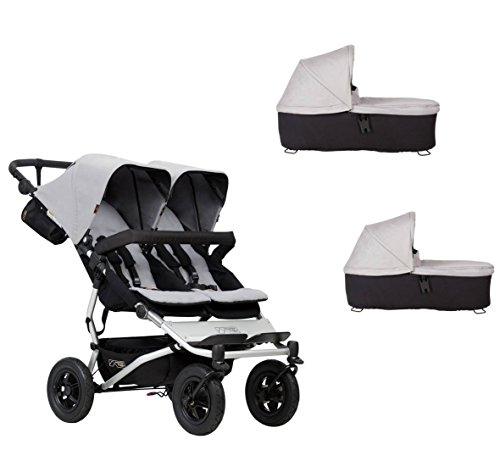 Mountain Buggy duet buggy V3 - Carrito de bebé con dos sillas y 2 capazos, color plateado