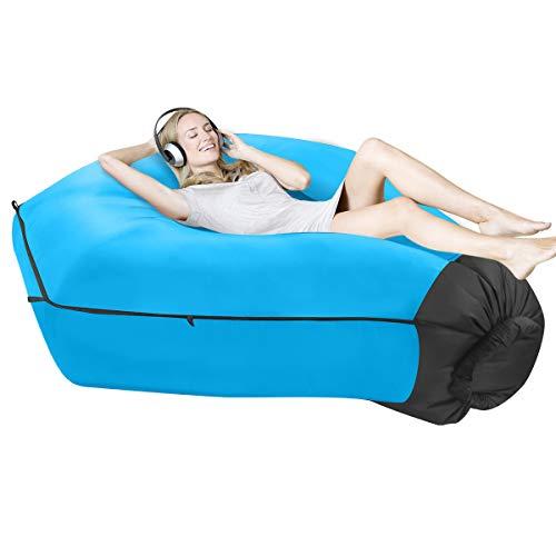 SUPTEMPO Aufblasbares Sofa Outdoor Air Lounger Luftsofa Wasserdichtes Luftsack Luftcouch mit Tragebeutel für Camping, Garten, Strand (Blau)