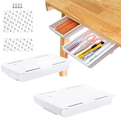 xianzhanEU 2 Stk Selbstklebende Untertisch Schublade,Hidden Unterbau Schublade Aufbewahrungsbox für Büro,Zuhause,Schule,mit 3M Stark Klebende Sticker und Schrauben,2 Größen