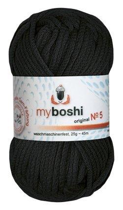 Myboshi Nr. 5, alle Farben, 3x Wolle kaufen = 1 Label gratis (596 schwarz)