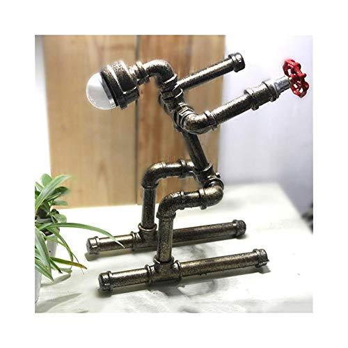 Lampada da tavolo, Retro Style industriale di personalità del tubo di acqua del robot lampada da tavolo in metallo elegante minimalista dimmerabile for salotto, ufficio, for bambini in camera, capezza