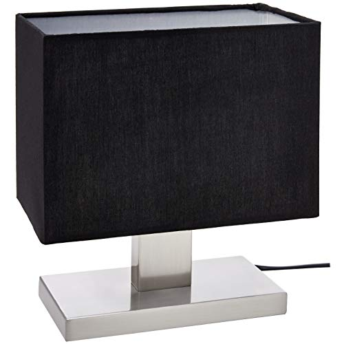 Umi. by Amazon - Lámpara de mesa, pantalla de tela, base rectangular de metal, 25,91cm