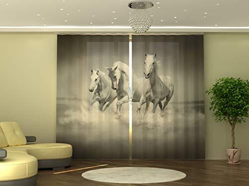 Wellmira - Tenda fotografica, 245 x 290 cm, motivo: cavalli bianchi, stampa fotografica, opaca, stampa con foto, tenda con motivo