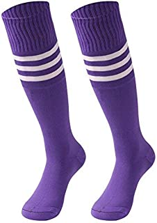 Unisex Tube Socks Stripe,2/6/10 Pairs Knee High Football Soccer Volleyball Baseball Cheerleading Team Socks