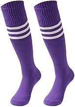 saounisi Men Long Socks,2 Pairs Knee High Socks White Stripe Football Baseball Soccer Sports Tube Team Socks Size 9-13 Purple