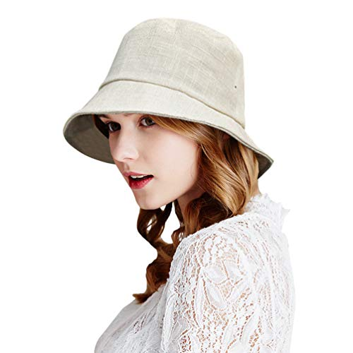 DAMILY - Sombrero de lino natural purecolor para mujer, gorros de pescador, ecológicos, plegables y ligeros beige M