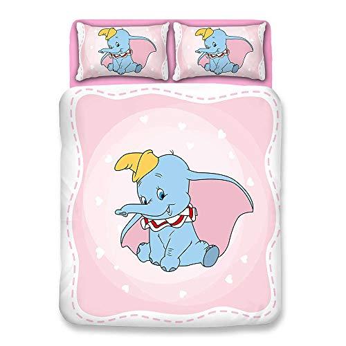 Snoevpar Duvet Cover Set 3 Piece, Cartoon Animal Elephant 135 * 200Cm Print Duvet Set Bedding Set For Double King Single Bed With 1 X Quilt Case 2 Pillowcases