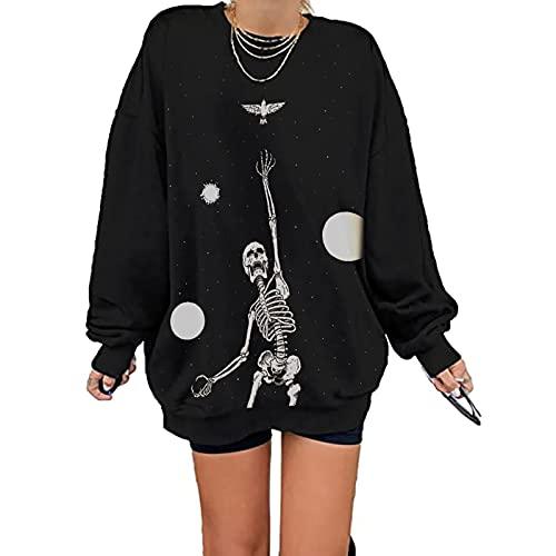 Wave166 Camiseta de manga larga con diseño de esqueleto humanoides para Halloween, de cuello redondo, suelta, para otoño e invierno, color negro, Negro , L