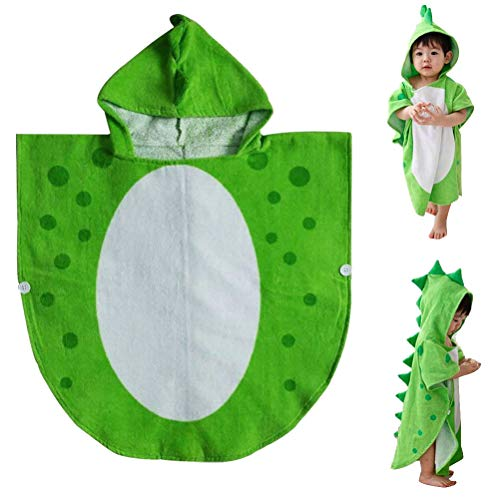 nuosen Hooded Baby Towels, Cotton Dinosaur Pattern Cute Bath Towel Kids Robe Beach Swimming Hooded Poncho for Babies Boys Girls(Green)