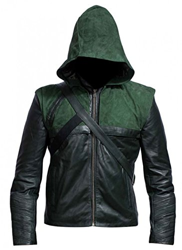 LP-FACON Mens Superhero Cosplay Arow Green Removable Hooded Amell Costume Faux Leather Jacket