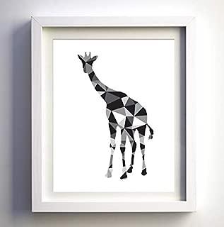 Black and white geometric giraffe silhouette minimalism minimalist wall art print nursery room wall art modern wall decor contemporary art animal art print modern decor unique polygonal art Unframed