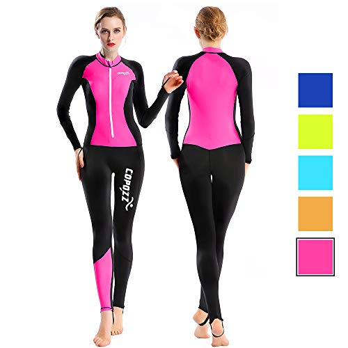COPOZZ Diving Skin, Men Women Youth Thin Wetsuit Rash Guard- Full Body UV Protection - for Diving Snorkeling Surfing Spearfishing Sport Skin (Black/Hot Pink, X-Large for Women)