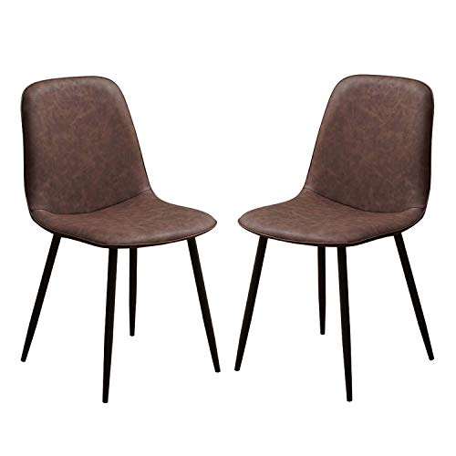 Set of 2 Dining Chairs Faux Leather Padded Seat and Curvy Backrest with Sturdy Black Metal Legs Modern Leisure Chair Can Bear 150kg (Color : Dark Brown)
