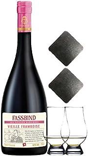 Fassbind Vieille Framboise alter Himbeerbrand 0,7 Liter  2 Glencairn Gläser  2 Schieferuntersetzer quadratisch ca. 9,5 cm
