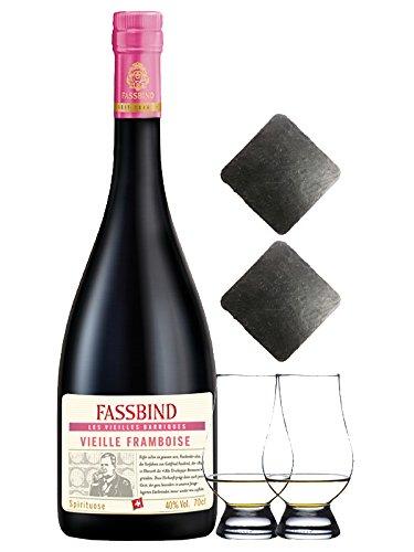 Fassbind Vieille Framboise alter Himbeerbrand 0,7 Liter + 2 Glencairn Gläser + 2 Schieferuntersetzer quadratisch ca. 9,5 cm
