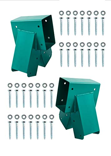 HANDYGO Swing Set Brackets - Heavy Duty Steel Swing Kit, 2 DIY Wooden Swing Hardware Bracket, Playground Equipment Parts, with Mounting Accessories, for Outdoor Play, Green