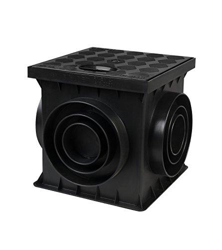 Sinkkasten Schacht für Hof mit geschlossenen Deckel schwarz 25 x 25 x 25