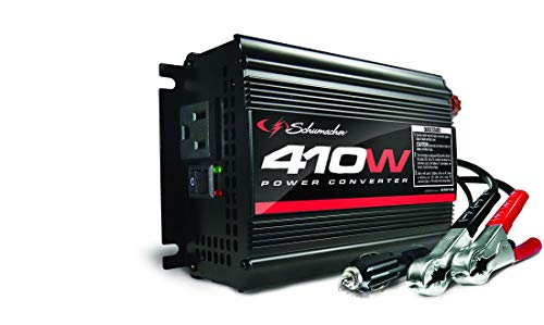 Schumacher DC to AC Power Inverter with 120V AC Outlet and USB Power Port - 410 Watts Continuous, 820 Peak Watts - Power Directly Connects to Battery