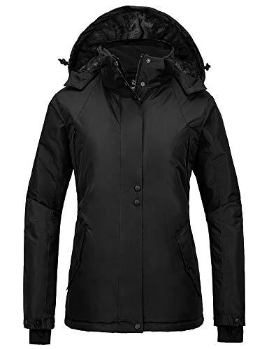Wantdo Women's Mountain Fleece Jacket Waterproof Winter Rain Jacket Dark Grey M