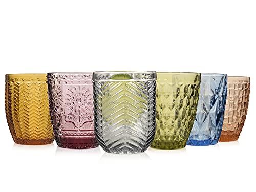 Sänger Trinkgläser Set Porto 6 teiliges Gläser Set für 6 Personen aus Glas, Wasserglas Füllmenge: ca. 310 ml, Mehrfarbig, einzigartiger Schliff, Alltag, Familienessen, Büro, Outdoor Saftgläser Set
