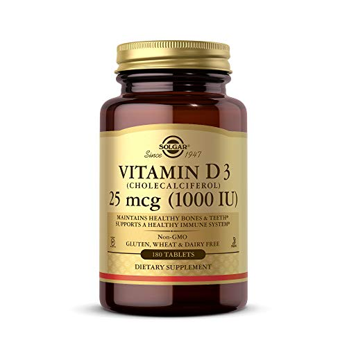 Solgar Vitamin D3 (Cholecalciferol) 1000 IU (25 µg) Tablets - Pack of 180