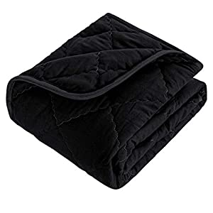 crib bedding and baby bedding bedsum ultra soft microfiber toddler comforter, lightweight solid color crib quilt for boys and girls, 39×47 inches kids warm baby quilted blanket, black