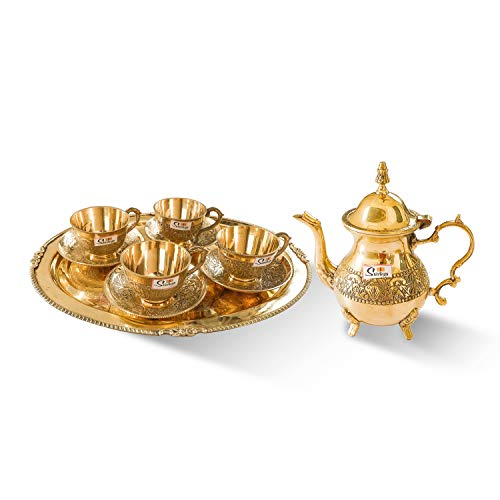 SHIVLINGA Royal Mughlai Style Bronze 1 Leaf Teapot with lid Kettle and 4 Pcs Cup and Saucer with Bronze Tray for Serving Drink & Beverages(Gold)
