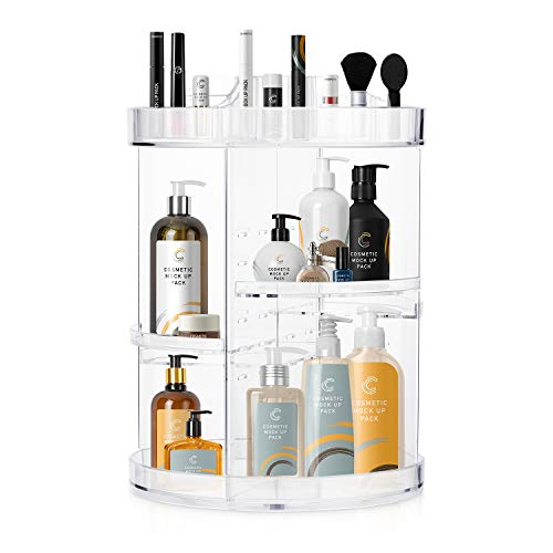 360 Rotating Makeup Organizers and Storage, COOLBEAR Spinning Cosmetic Display Case with 6 Adjustable Layers for Bathroom Vanity Countertop, Fits Perfume Cream Skincare and More, Clear Acrylic