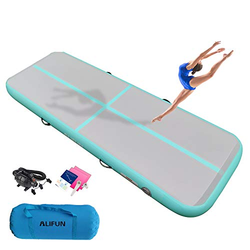 ALIFUN Tumbling Track Mat 10ft 13ft 16ft 20ft Tumble Track Thick 4/8 Inches Gymnastics Tumbling Mat Inflatable Training Track Mat with Electric Air Pump for Home Use/Tumble/Gym/Training/Cheerleading
