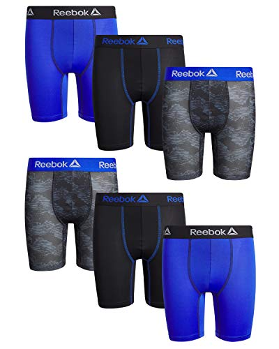 Reebok Boys Performance Quick Dry Compression Long Boxer Brief (Pack of 6), Black/Royal/Grey Camo, Size Medium (8/10)'